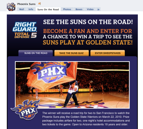 Screenshot of Phoenix Suns RIght Guard Sweepstakes