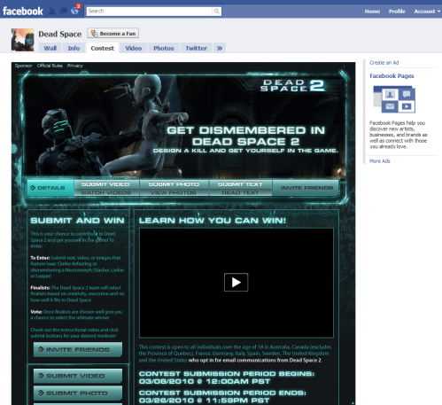 Screenshot of Deadspace 2 promotion on Facebook