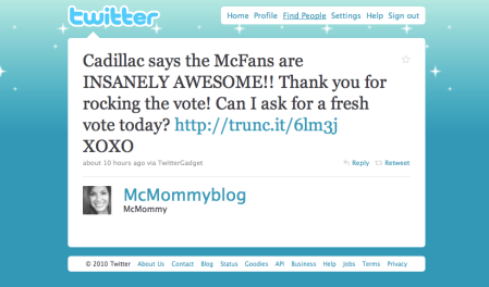 Screenshot of McMommy Tweet