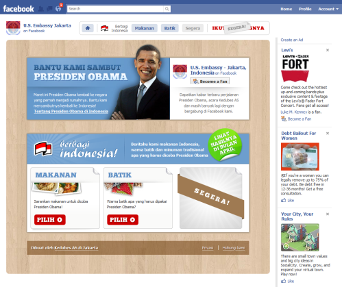 Screenshot of front page of US Embassy at Jakarta Facebook Promotion