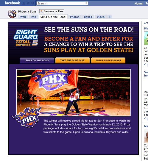 Phoenix Suns with Rightguard promotion