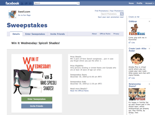Screenshot of Win it Wednesday Promotion
